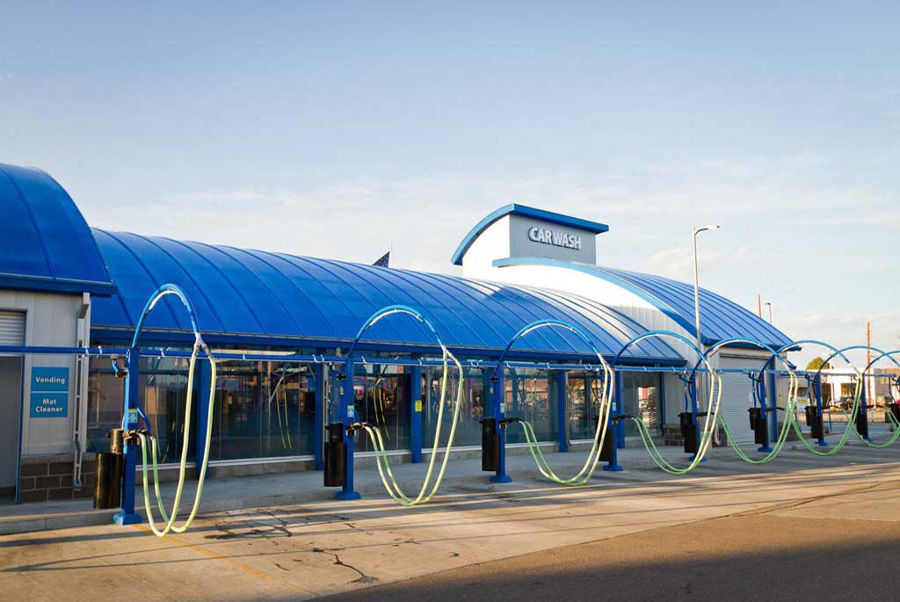 Curved Steel Roof at the Living Waters Express Car Wash