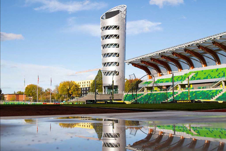 "Hayward Field Renovation:""The Front Runner in Steel Bending. We Tower Above the Rest."""