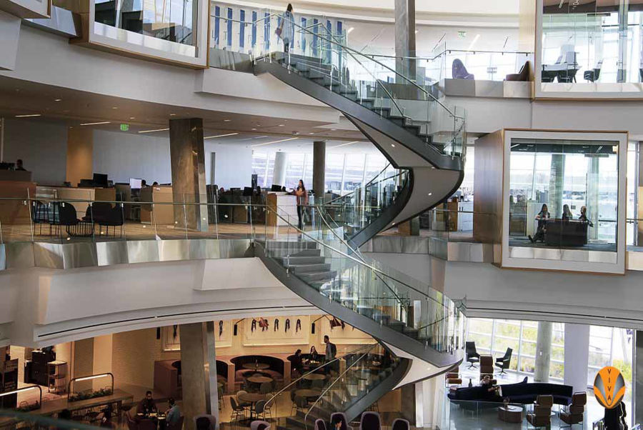 Final Install Pictures of Curved Steel Circular Staircase for the New American Airlines Headquarters in Fort Worth, Texas