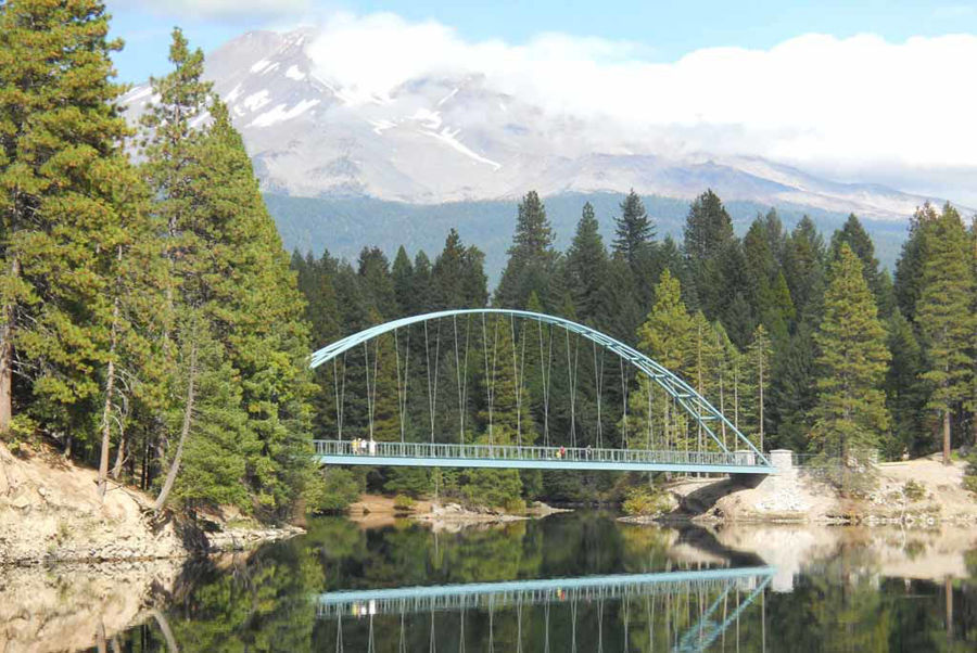 Curved Steel Creates Crown Jewel Wagon Creek Bridge in Lake Siskiyou, CA.