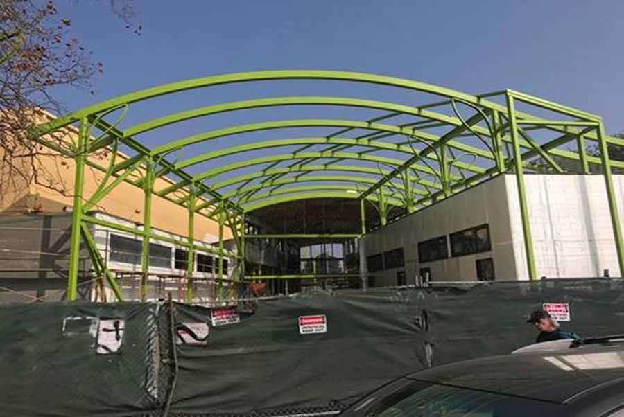 Curved Steel Roof Structure at Rainbow Recreational Center in Oakland, CA.