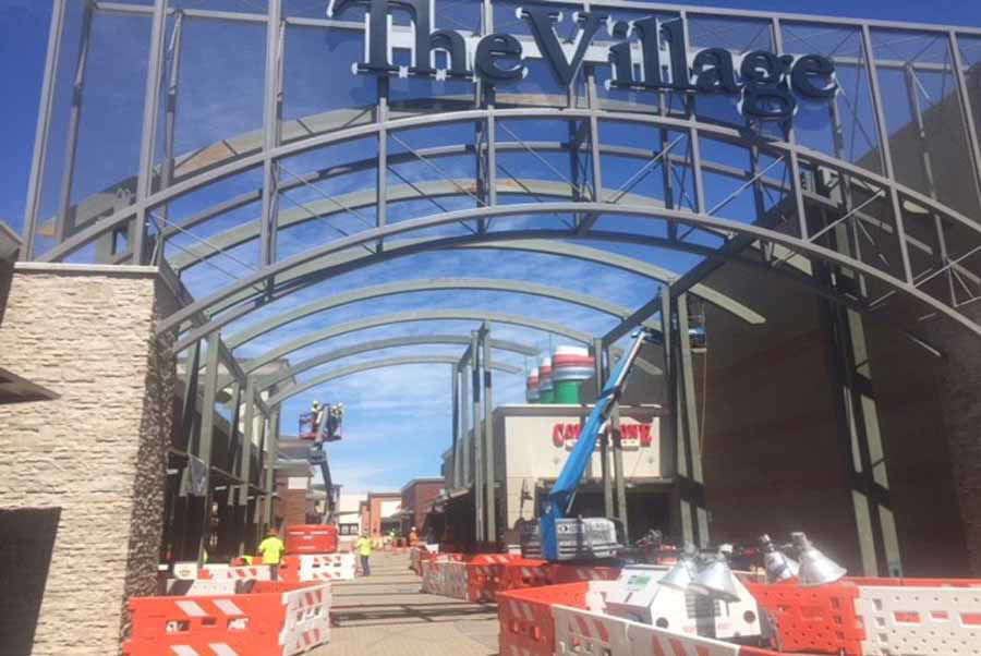 "Curved Steel Canopy at ""The Village at Medford Center"" in Medford, Oregon"