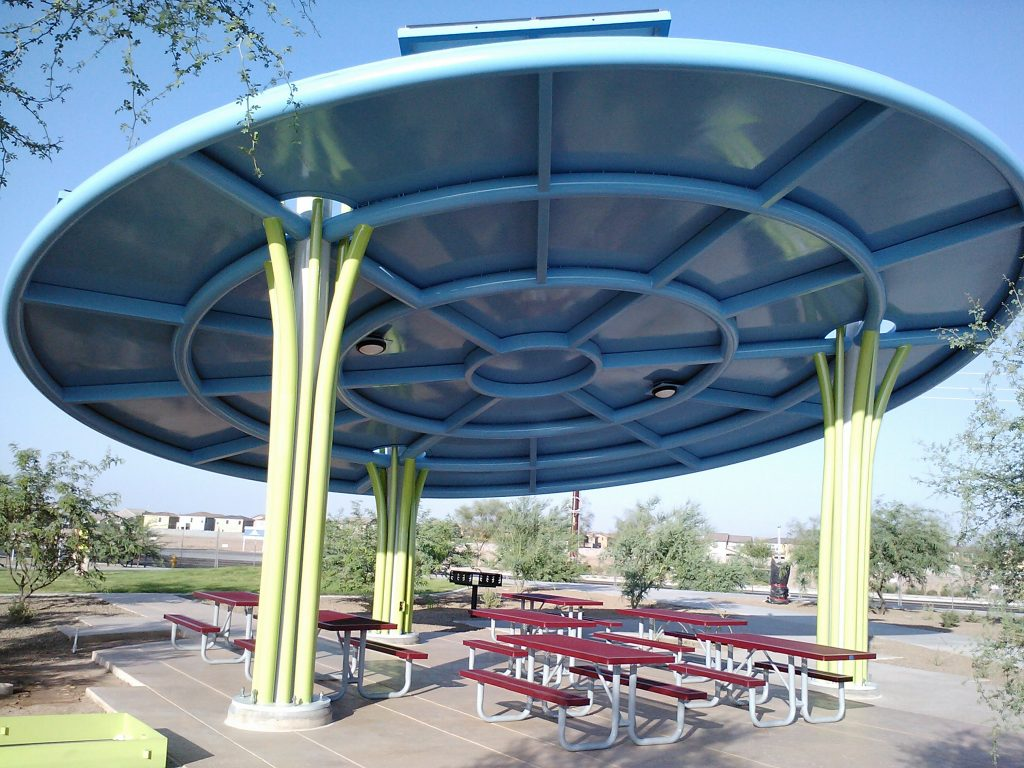 Curved Steel Canopy at Dust Devil Stadium Pasco, WA